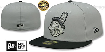Indians CHIEF-WAHOO Light Grey-Black Fitted Hat by New Era