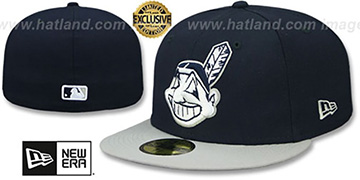 Indians CHIEF-WAHOO Navy-Light Grey Fitted Hat by New Era