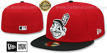 Indians CHIEF-WAHOO Red-Black Fitted Hat by New Era