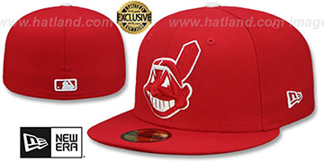 Indians CHIEF-WAHOO Red-White Fitted Hat by New Era