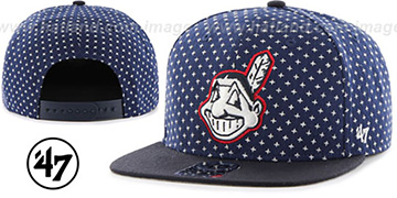 c1527564668bc ... Indians  CROSSBREED SNAPBACK  Navy Hat by Twins 47 Brand ...