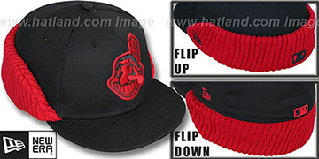 Indians 'FLIP-DOWN' Black-Red Fitted Hat by New Era