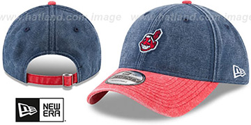 Indians GW RUGGED CANVAS STRAPBACK Navy-Red Hat by New Era