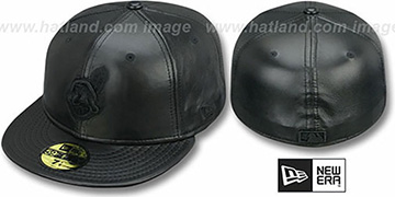 Indians 'LEATHER BLACKOUT' Fitted Hat by New Era