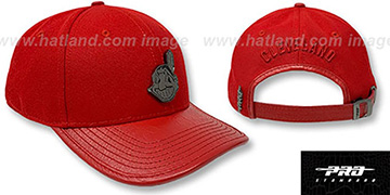 Indians LOW-PRO 'BLACK METAL BADGE STRAPBACK' Red Hat by Pro Standard