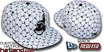 Indians 'MLB FLOCKING' White-Black Fitted Hat by New Era