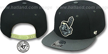 Indians NIGHT-MOVE SNAPBACK Adjustable Hat by Twins 47 Brand