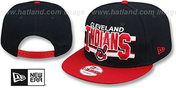 Indians WORDSTRIPE SNAPBACK Navy-Red Hat by New Era