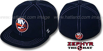 Islanders 'CONTRAST THREAT' Navy Fitted Hat by Zephyr