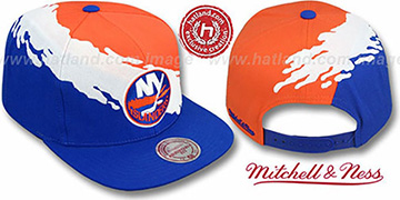 Islanders PAINTBRUSH SNAPBACK Orange-White-Royal Hat by Mitchell and Ness