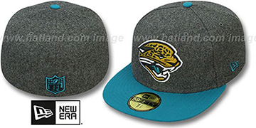 Jaguars 2T NFL MELTON-BASIC Grey-Teal Fitted Hat by New Era