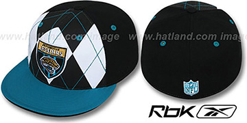 Jaguars 'ARGYLE-SHIELD' Black-Teal Fitted Hat by Reebok