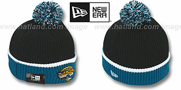 Jaguars NFL FIRESIDE Black-Teal Knit Beanie Hat by New Era
