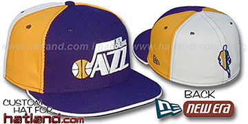 Jazz BACK INSIDER PINWHEEL Purple-Gold-White Fitted Hat