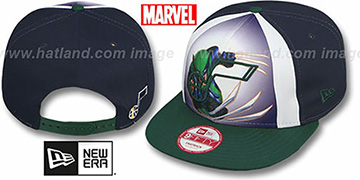 Jazz 'MARVEL RETRO-SLICE SNAPBACK' Navy-Green Hat by New Era