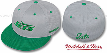 Jets '2T BP-MESH' Grey-Green Fitted Hat by Mitchell & Ness