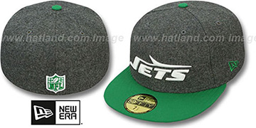 Jets '2T NFL THROWBACK MELTON-BASIC' Grey-Green Fitted Hat by New Era