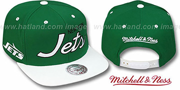 Jets '2T TEAM-SCRIPT SNAPBACK' Green-White Hat by Mitchell & Ness