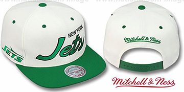 Jets 2T TEAM-SCRIPT SNAPBACK White-Green Hat by Mitchell & Ness