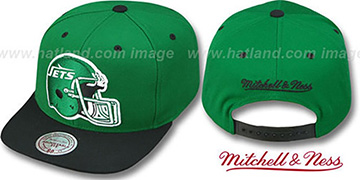 Jets '2T XL-HELMET SNAPBACK' Green-Black Adjustable Hat by Mitchell & Ness