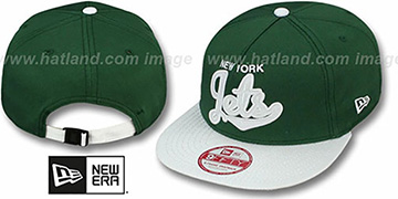 Jets BALLISTIC SCRIPT A-FRAME STRAPBACK Green-White Hat by New Era