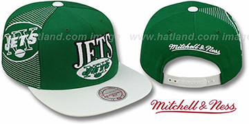 Jets LASER-STITCH SNAPBACK Green-White Hat by Mitchell & Ness