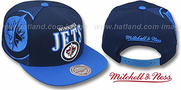 Jets 'LASER-STITCH SNAPBACK' Navy-Sky Hat by Mitchell & Ness
