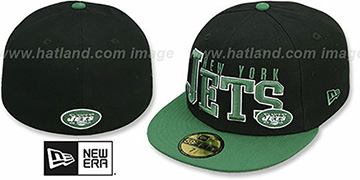 Jets NFL 2T CHOP-BLOCK Black-Green Fitted Hat by New Era