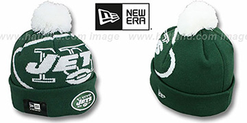 Jets 'NFL-BIGGIE' Green Knit Beanie Hat by New Era