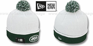Jets 'NFL FIRESIDE' White-Green Knit Beanie Hat by New Era