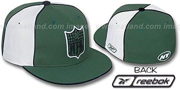 Jets 'NFL SHIELD PINWHEEL' Green White Fitted Hat by Reebok