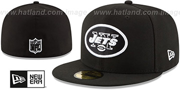 Jets NFL TEAM-BASIC Black-White Fitted Hat by New Era