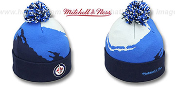 Jets PAINTBRUSH BEANIE by Mitchell and Ness