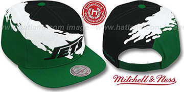 Jets PAINTBRUSH SNAPBACK Black-White-Green Hat by Mitchell & Ness