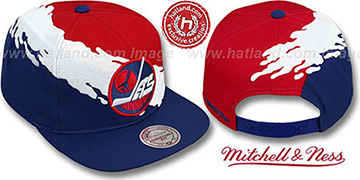 Jets PAINTBRUSH SNAPBACK Red-White-Navy Hat by Mitchell & Ness