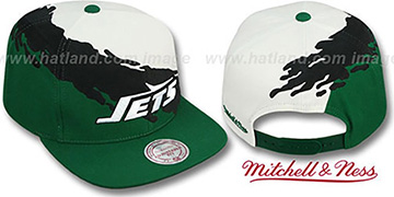 Jets PAINTBRUSH SNAPBACK White-Black-Green Hat by Mitchell & Ness