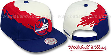 Jets PAINTBRUSH SNAPBACK White-Red-Navy Hat by Mitchell and Ness