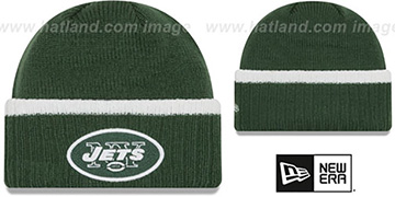 Jets RIBBED-UP Green Knit Beanie Hat by New Era