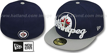 Jets 'SCRIPT-PUNCH' Navy-Grey Fitted Hat by New Era
