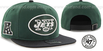 Jets SUPER-SHOT STRAPBACK Green-Black Hat by Twins 47 Brand