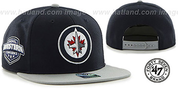Jets SURE-SHOT SNAPBACK Navy-Grey Hat by Twins 47 Brand