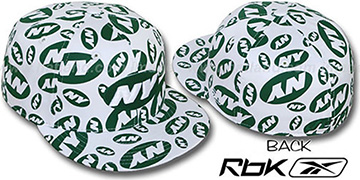 Jets 'TEAM-PRINT ALL-OVER' White Fitted Hat by Reebok