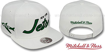 Jets TEAM-SCRIPT SNAPBACK White Hat by Mitchell & Ness