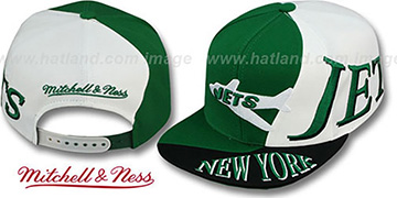 Jets THE SKEW SNAPBACK Hat by Mitchell & Ness