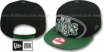 Jets THROUGH SNAPBACK Black-Green Hat by New Era