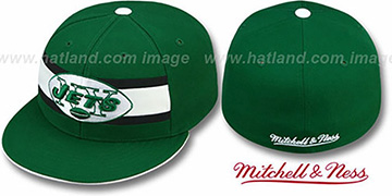 Jets THROWBACK TIMEOUT - 1 Green Fitted Hat by Mitchell & Ness