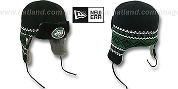 Jets TRAPPER Black Knit Hat by New Era
