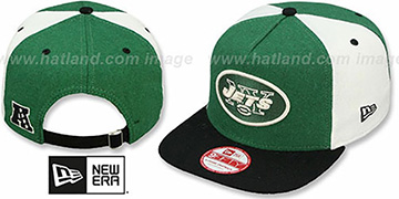Jets TRIPLE MELTON STRAPBACK Green-White-Black Hat by New Era