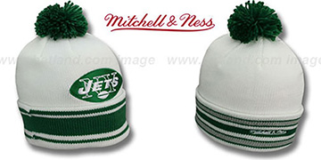 Jets XL-LOGO BEANIE White by Mitchell and Ness