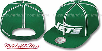 Jets XL-LOGO SOUTACHE SNAPBACK Green Adjustable Hat by Mitchell and Ness